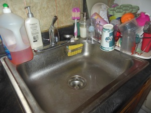 So while this is real, my empty, clean sink, with every single dish from the day cleared...